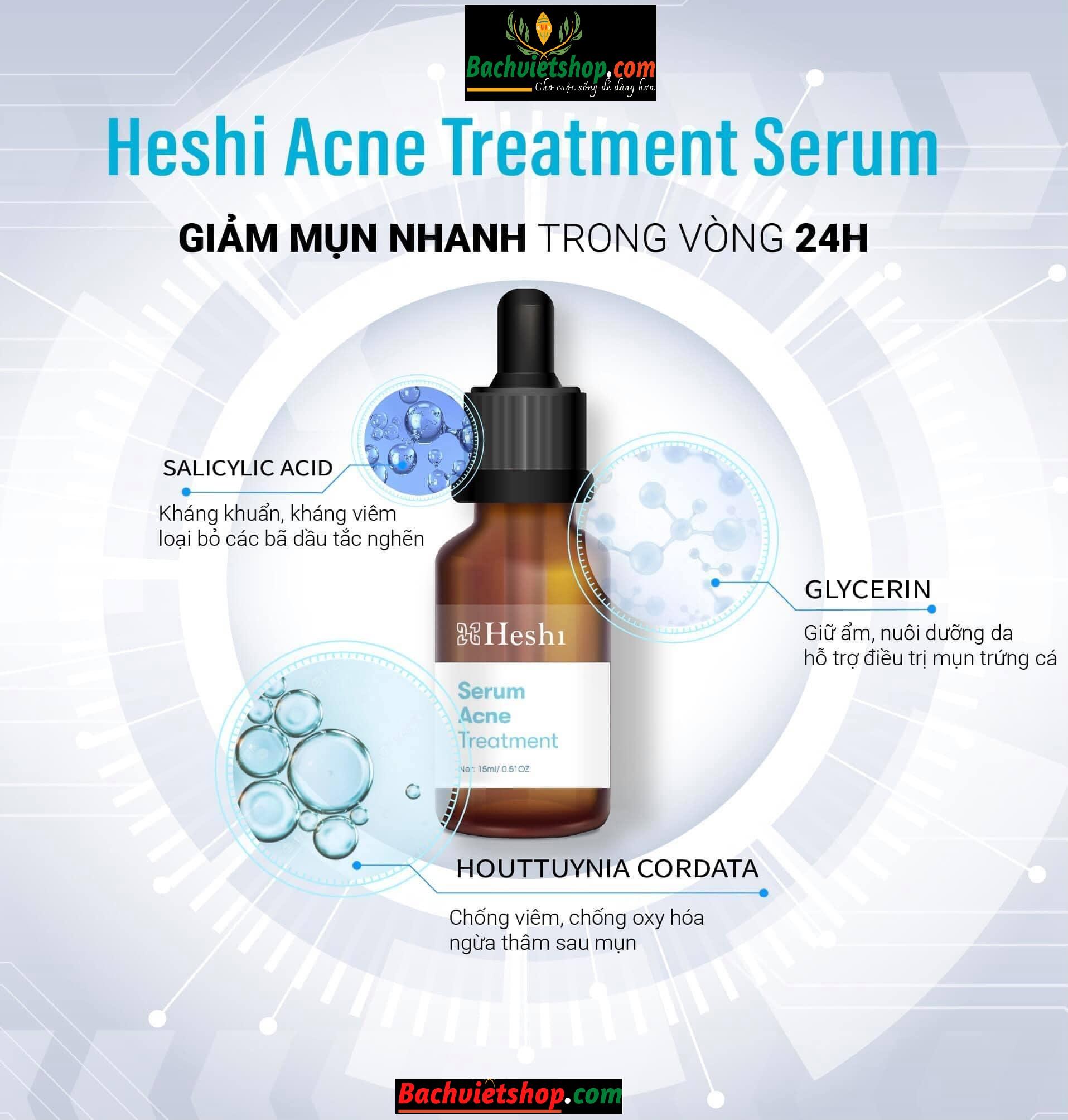 Serum đặc trị mụn Heshi giảm mụn nhanh trong 24h
