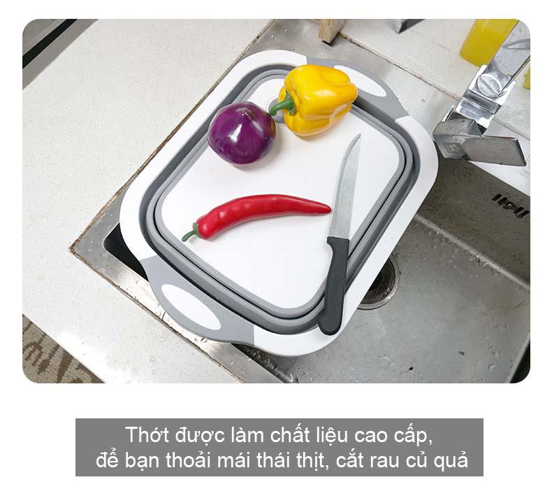 Bộ sản phẩm thớt chậu rổ đa chức năng tiện lợi được làm bằng nhựa cao cấp