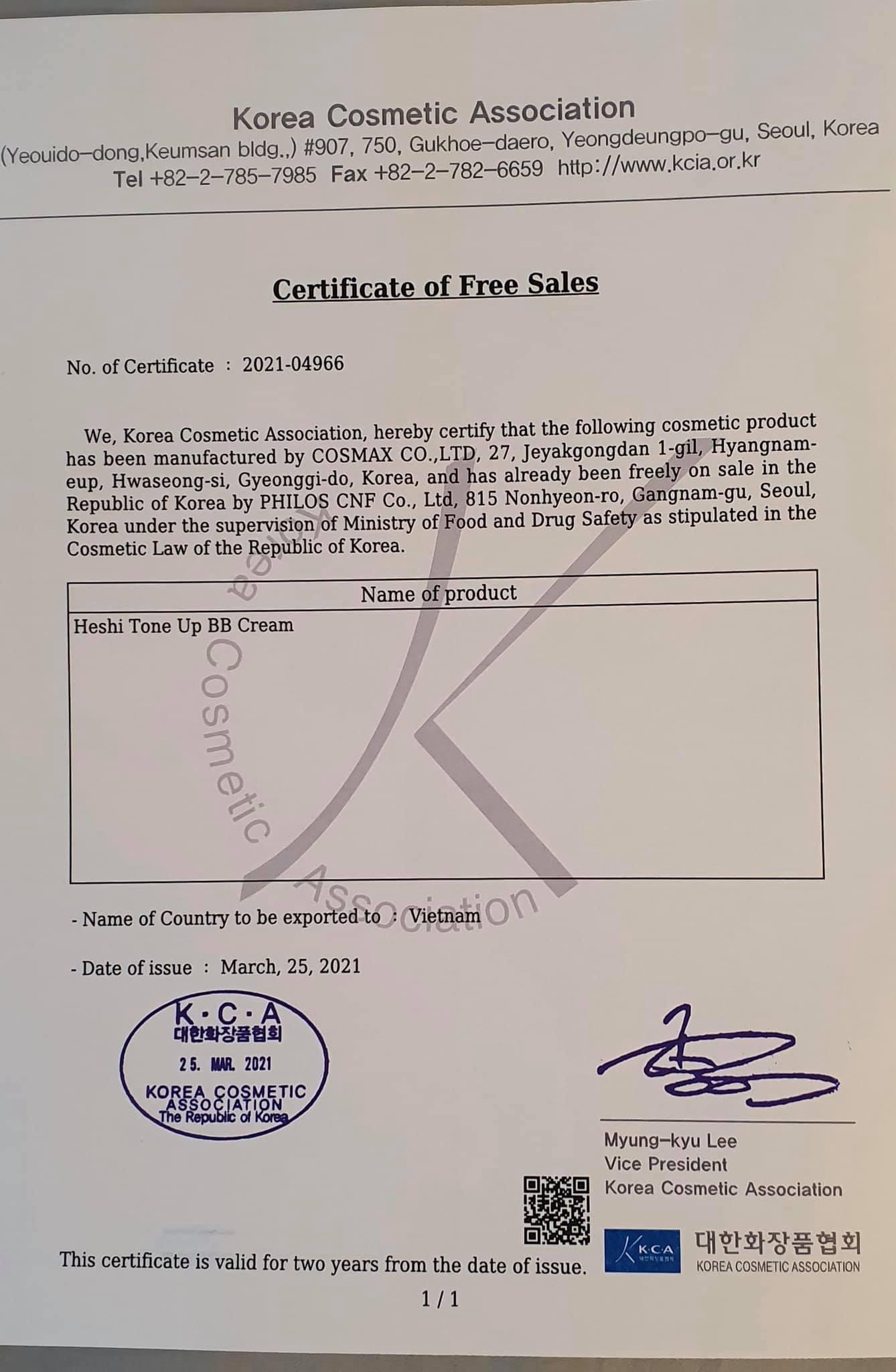 giấy chứng nhận sản phẩm an toàn