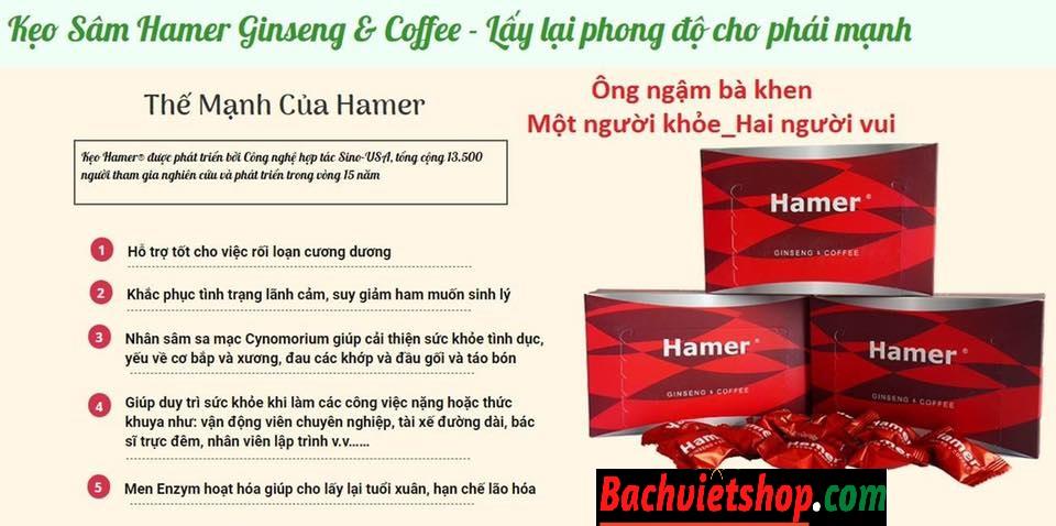 Công dụng Kẹo Sâm Hamer Malaysia